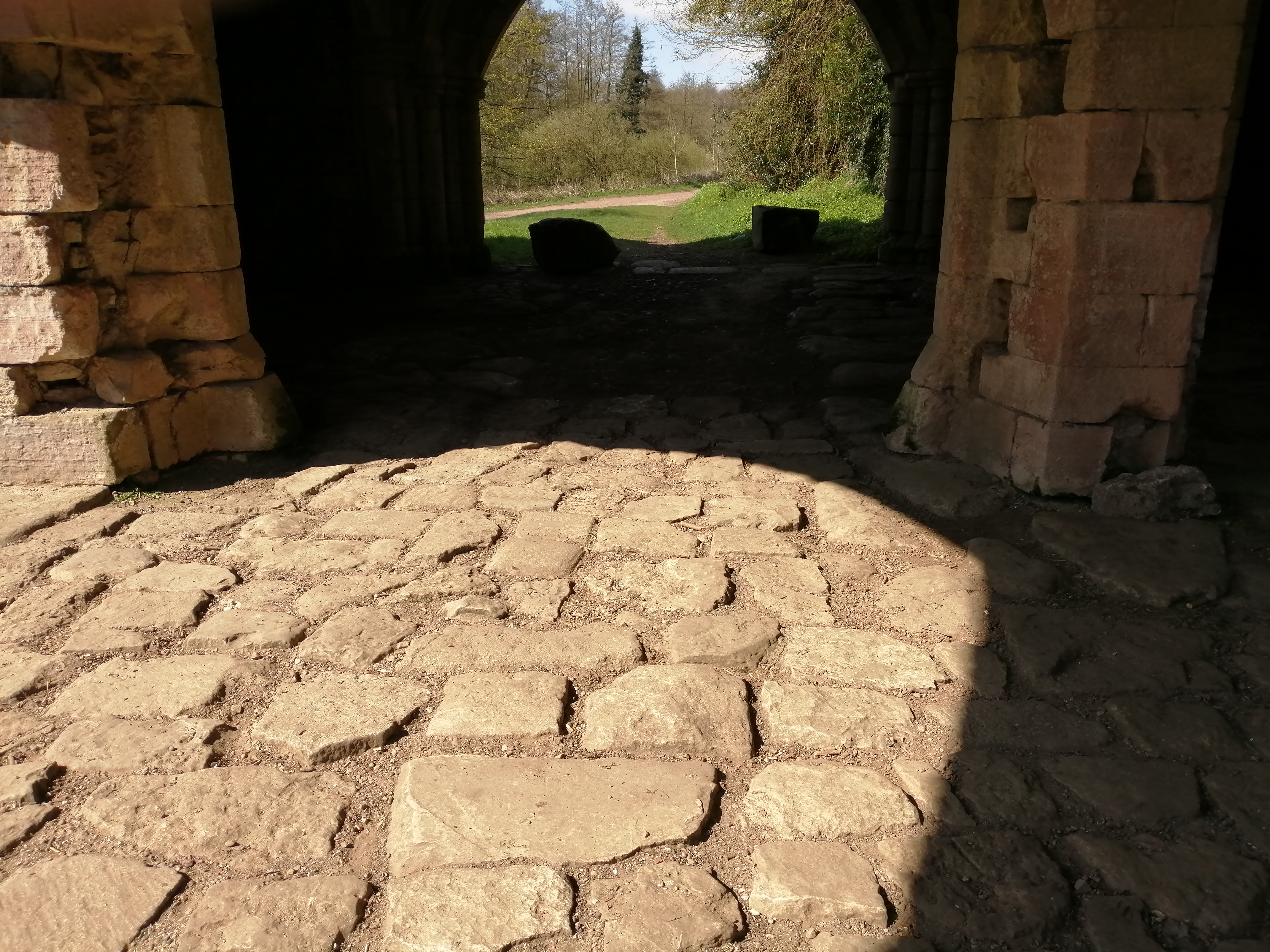 Medieval pavement, gatehouse, Roche Abbey